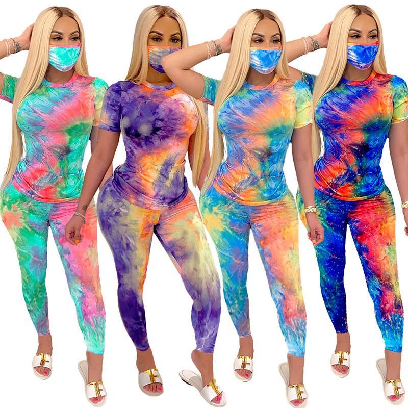 Women Tracksuits Fashion Tie Dye Three Piece Set Ladies Sportswear Short Sleeve Tops Pants Mask Set Female Outfits Yoga Suits 050902