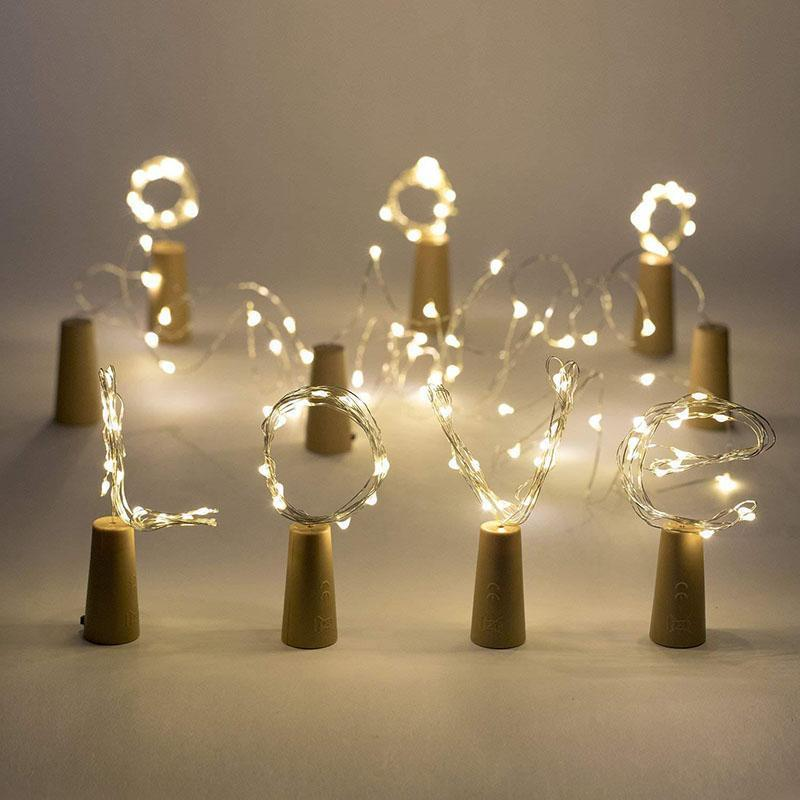 Parti Düğün Dekorasyon için Şeklinde 20led Dize Lambalar Şarap Şişesi tıpa Işık Beyaz Sıcak Beyaz Mavi Yeşil Kırmızı Mantar