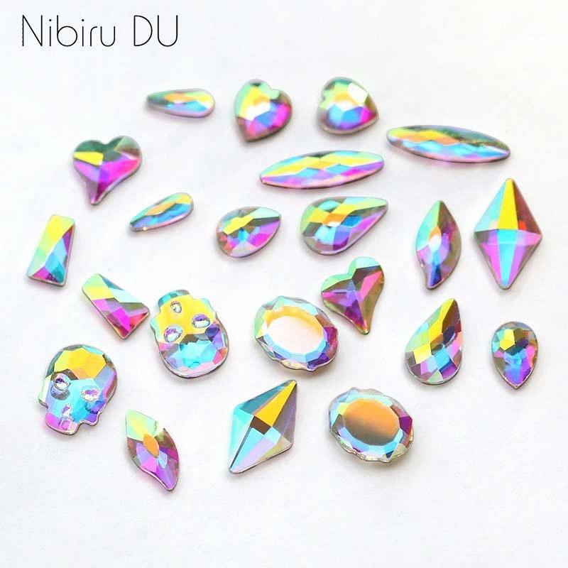 tas Décorations Strass 20pcs / pack Nail Art personnalisé strass plat Formes verre AB pierres colorées pour les ongles 3D Art Déco dM4k #