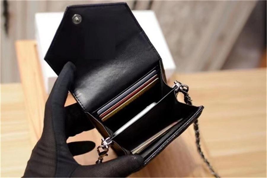 Bayan Tasarımcı Kart Sahipleri En Kaliteli Deri Kadın Cüzdan Siyah Organize Sling Çanta Çizgili Cep Telefonu Çanta Şefi 17.5 cm