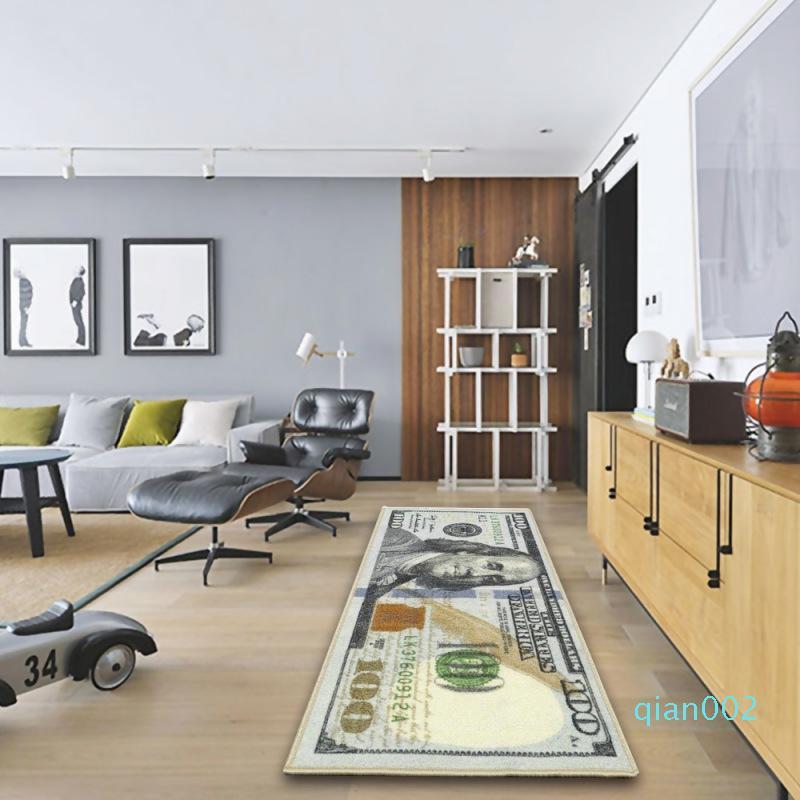 Creativa manta de área de dólar Alfombra billete de $ 100 Imprimir la estera del piso de baño Cocina antideslizante Alfombras Runner For Living Room Decoration