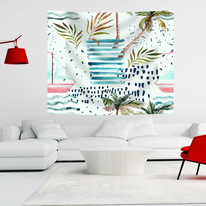 Plante verte Aquarelle tenture Tapisseries Mandala Bohemian Tapisserie Paysage Fond d'écran Wall Art Châle