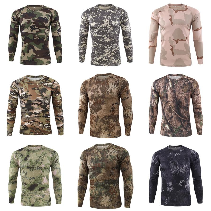 Tops rapide O manches longues T-shirts pour hommes T-shirts Formation Plein Air Hommes Respirant # 223