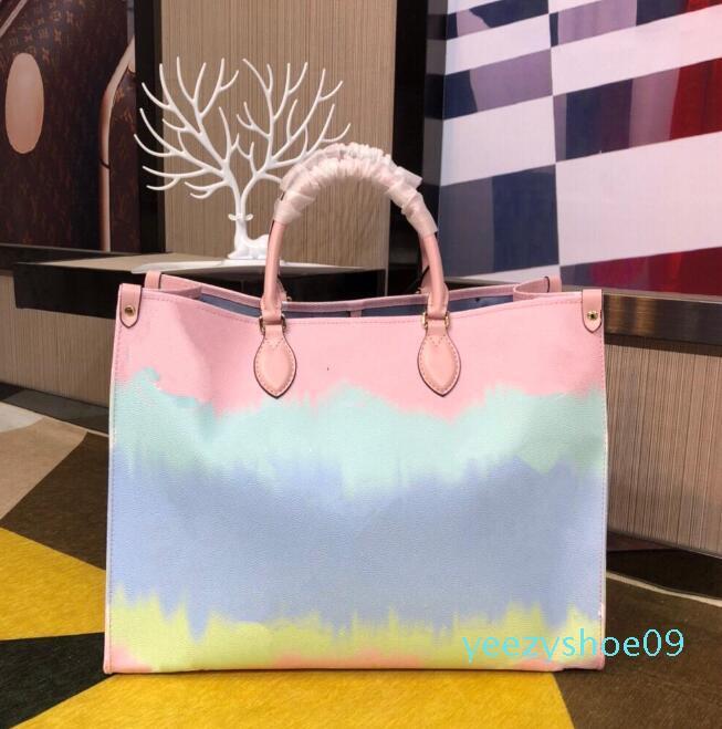 2020 Nouveautés Sac Designer d'été onthego Tie Dye luxe escale fourre-tout pour les femmes Sac à main Designer Pastel Collection Tote Y09 Escale