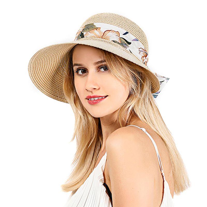 Женщины Рафия соломенной шляпе лук ленты Брим Бич ВС Hat Cap Summer Сыпучие Солнцезащитный Зонт купола Cap с цветочным принтом ленты