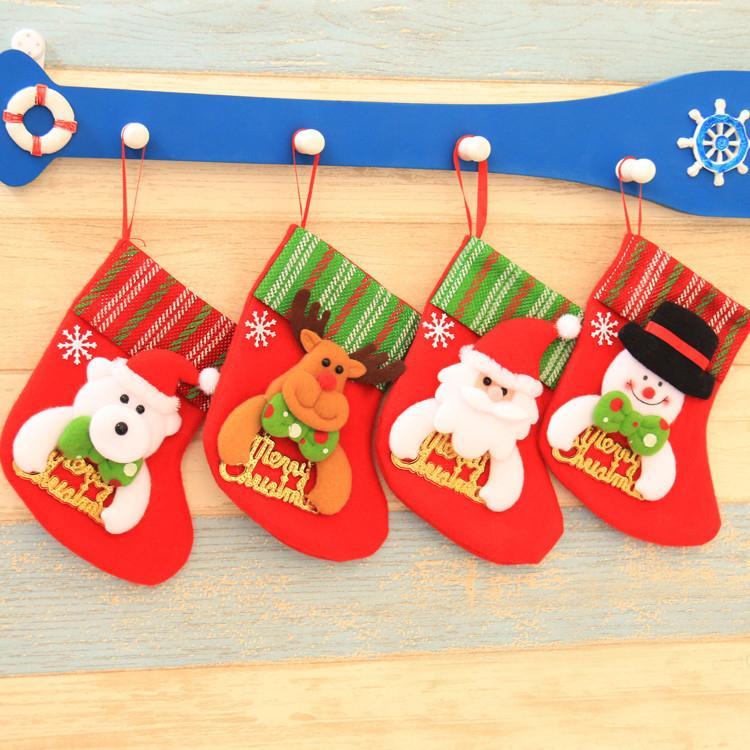 2020 Noel Asılı Çorap Sevimli Şeker Hediye Çantası Kardan Adam Noel Baba Geyik Ayı Noel Çorap Noel Ağacı Dekor Için Kolye FY7179
