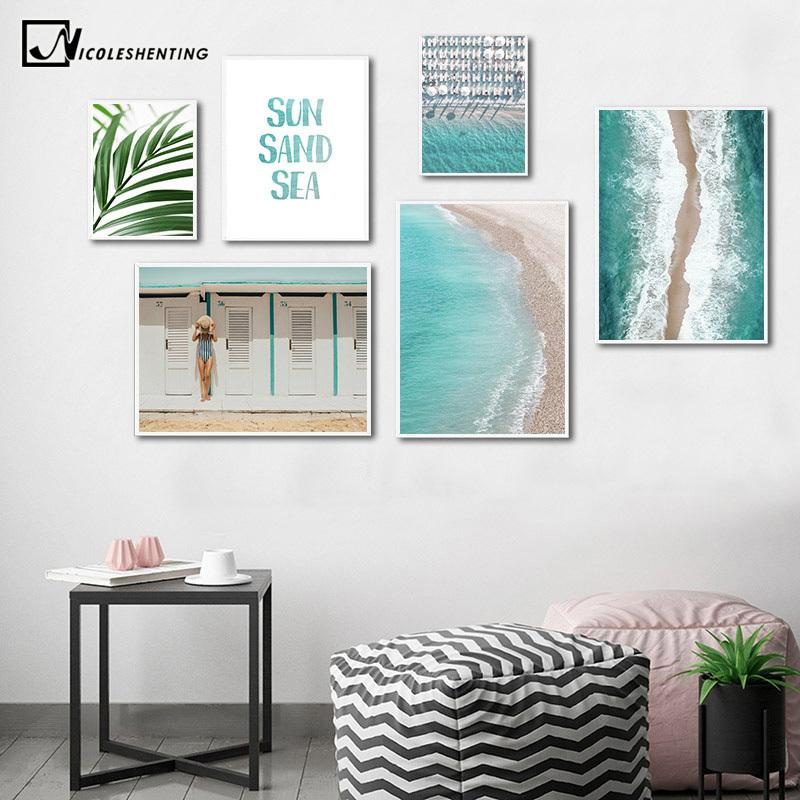 Aerial View Tropical Ocean Beach Poster Summer Sea Wavs Palm Tree Leaf Print Scenery Wall Art Canvas Painting Decorative Picture