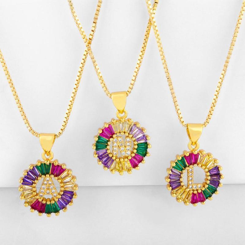 Круглый цвет Унисекс буквы алфавита Золото Тарелка Цирконий Подвеска цепи ожерелье ювелирные изделия