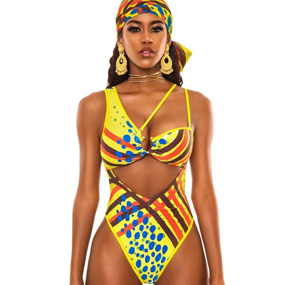 Africano Stampato costume da bagno-donne One Piece Costumi da bagno cut-out Monokini Bagnante 2020 Suits spiaggia balneare Totem Badpak Swim