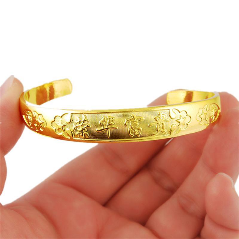 Plus récent Dubai Gold Bangles Femmes Hommes Or Couleur Bracelets Afrique / Europe / Noël éthiopien cadeau Bangles