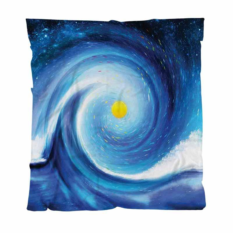 Sun Best Quailty Blanket Throw Blanket,Artistic Surfer Wavy Sun Blue White Yellow, Child Adult Blanket Air Conditioning Quilt