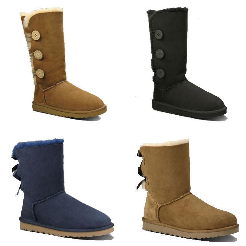 Les femmes bottes de neige chaudes bottes d'hiver en suède véritable vache australie créateur de mode chaussures arc mujer Botas pas cher bottes