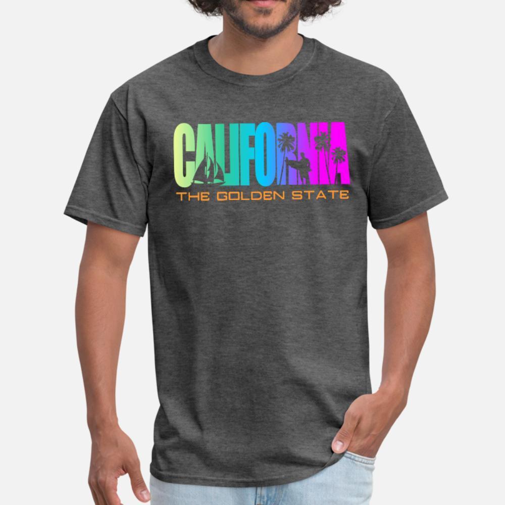 California Beach Golden State t shirt homme Designs 100% coton taille plus 3XL été cool célèbre base style lettres chemise