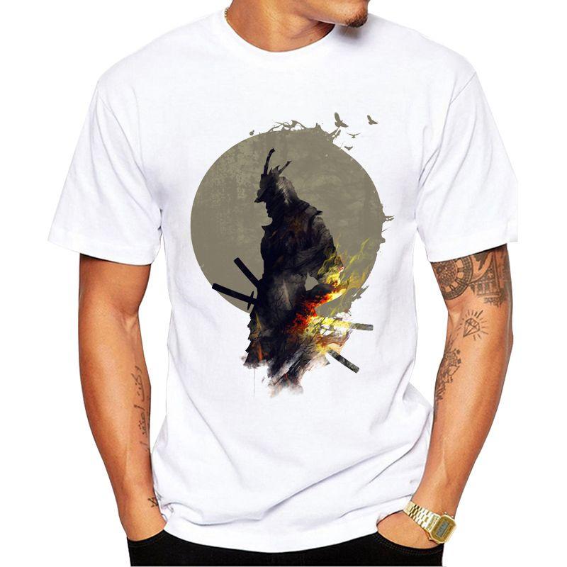 Homens TEEHUB Moda Blazing Samurai Impresso T-shirt do vintage do verão camisetas de manga curta T engraçados Tops Casual