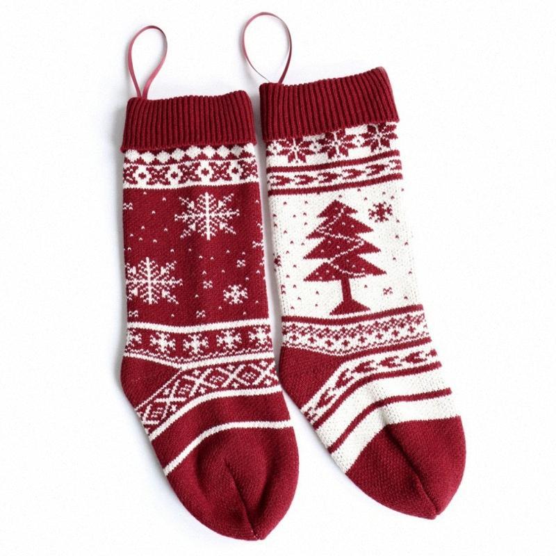 Los titulares de punto caliente 18Inch de la Navidad del regalo del árbol de Navidad Medias Chimenea Ornamentos colgantes Decoración de temporada Vacaciones Decoración EKyO #