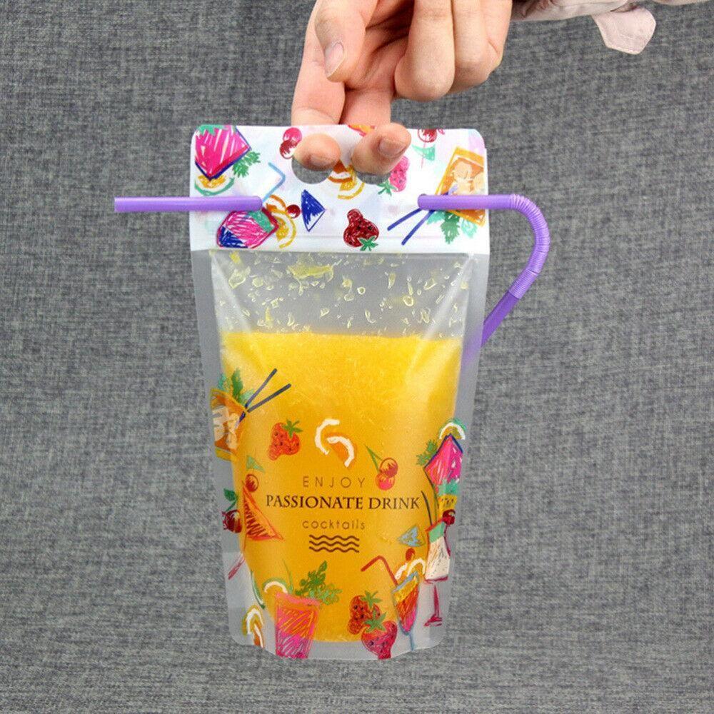 500ML Fermeture à glissière en plastique Sacs Pouches boisson, Heavy Duty-Hand Held translucide givré refermable Stand-up Sac