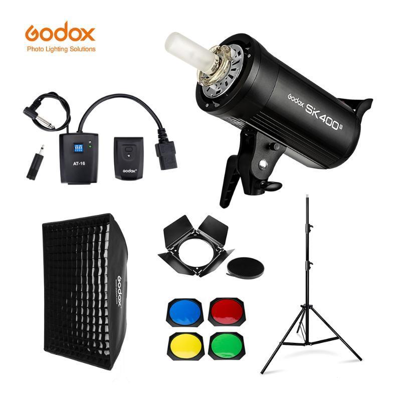 Godox SK400II 400ws GN65 Professional Flash de Estúdio Strobe + 2.8m Suporte de Iluminação + 60x90cm Softbox Gatilho Barn Door Kit