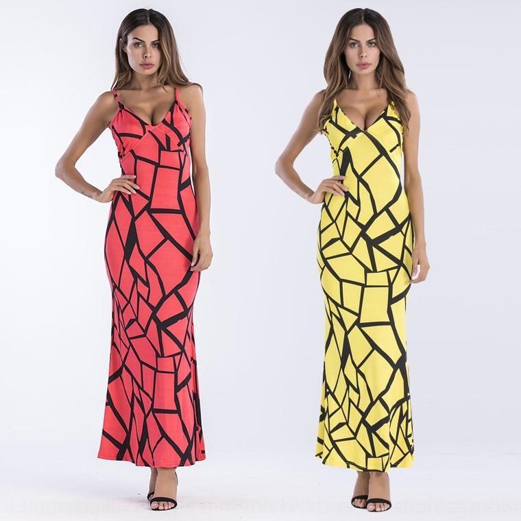 td8mC usura sling vestito dimagrante scollo a V 27495 delle donne del lungo abito da spiaggia gonna gonna ampia metratura