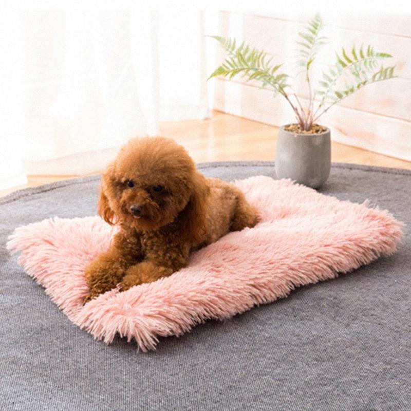 Успокаивающая Кровать для собак Собаки Длинного Плюшевого Dounts кровати собака кошка Pet зимы теплых Маты Fur кровать Pad Самого тепло Ковер Термического моющихся Коврики 8DFG #