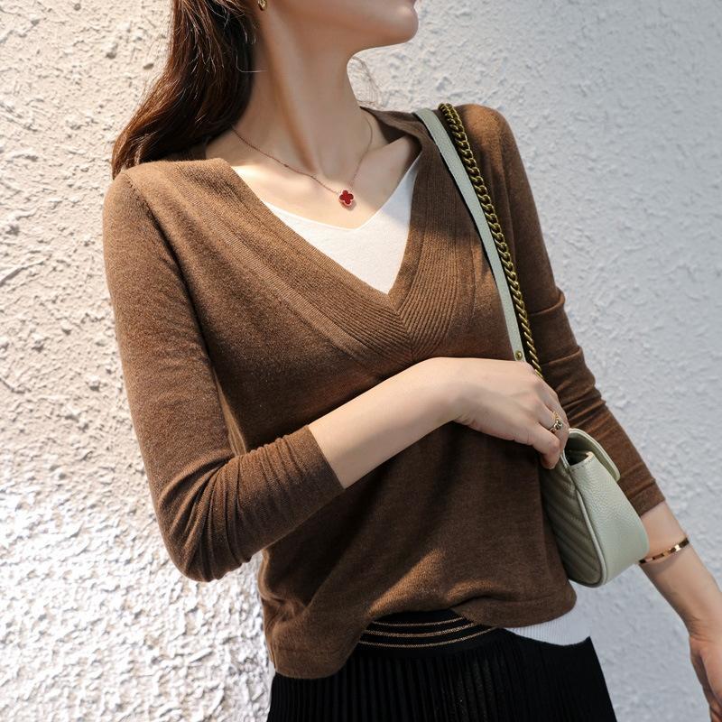 xChqv 2020 осени и зима Новая камвольной большой V-образный вырез тонкого свитера цвет соответствия поддельные из двух частей свитера шерсти шерсти набор женщин вязаной рыхлые