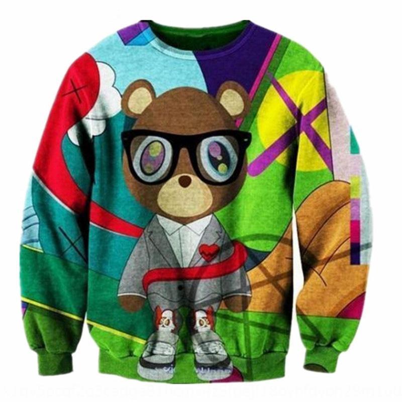 80pdu Nueva impresión de las mujeres oso de graduación sudadera con capucha sudadera de ropa divertida calle HOODY suéter de los hombres y la pareja de 3D W1