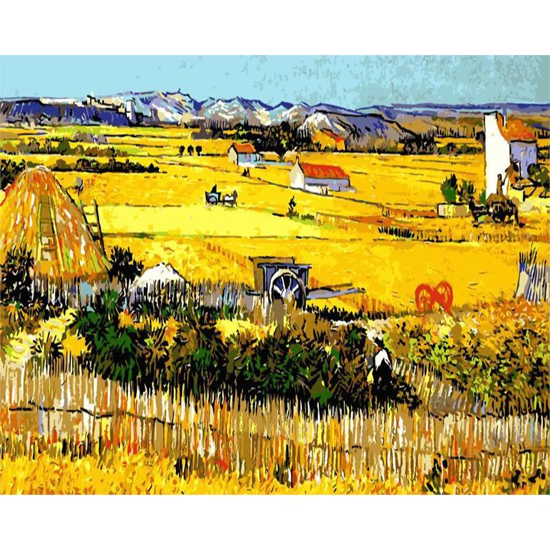 Yetişkin Çocuklar için Boyama Sayılar-Tuval Petrol Beautiful Sonbahar Hasadı Manzara DIY Boya