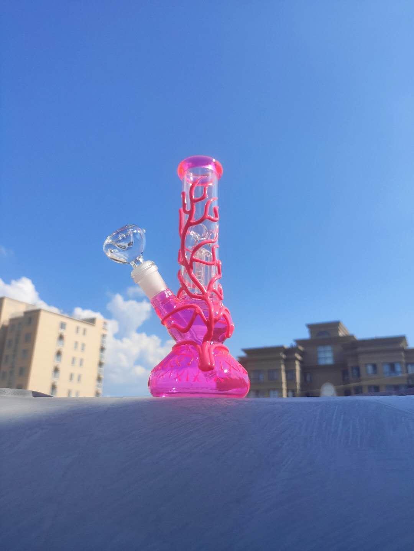 25 cm 10 cm Premium-Rosa-Vene-Glühen in der dunklen rosa Farbe mit Hukahn-Wasser-Rohr-Bong-Glasbongs mit einem 18-mm-Tondbahn und Schüssel bereit für den Einsatz