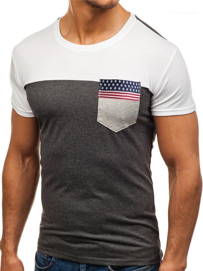كم قصير الرجال بلايز السببية تنفس تيز العلم الشريط الجيب الرجال بلايز أزياء الصيف جولة الرقبة