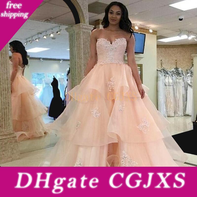 Querida Blush vestido de noiva 2019 saia em camadas Backless frisada Appliques Império Organza Ruffle Lace Up longa vestidos de noiva frete grátis