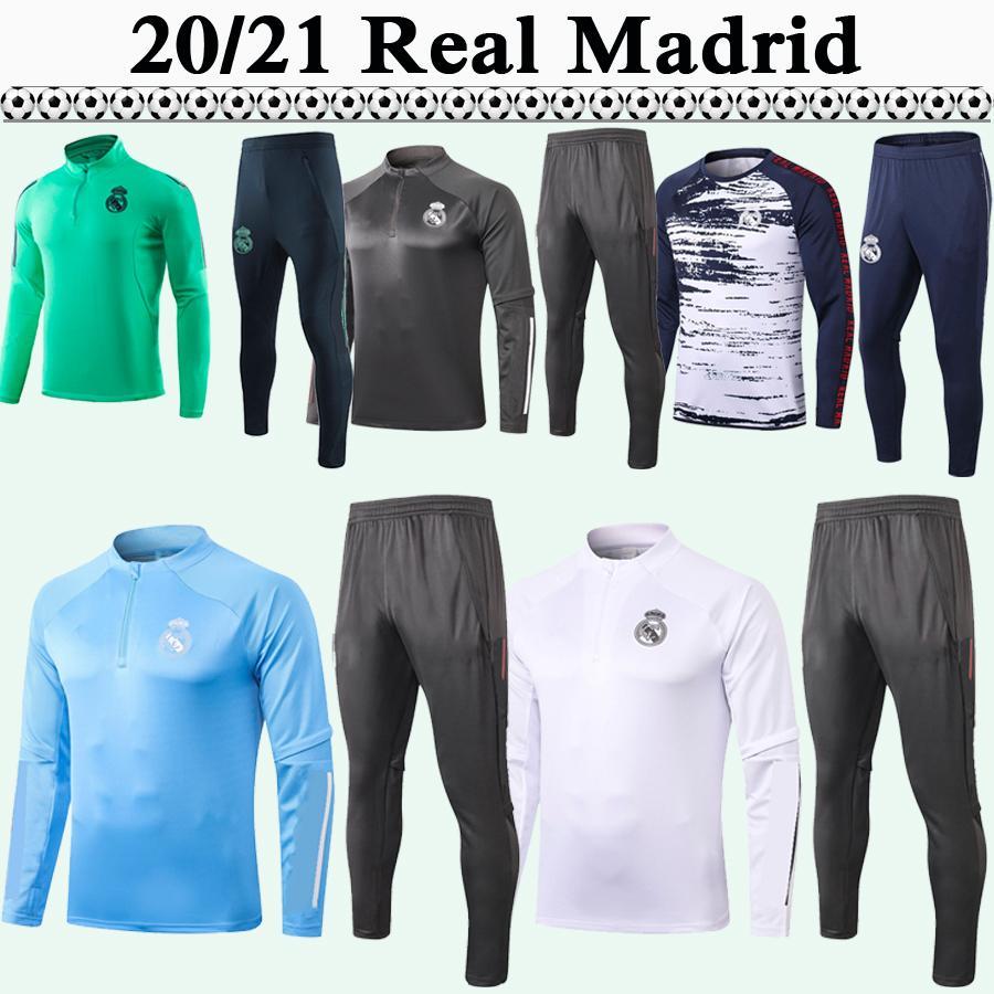 20 21 HAZARD Training Suit Football Jerseys Real Madrid SERGIIO RAMOS KROOS Mens Tracksuit Kit Football Shirts BENZEMA MARCELO ISCO Pants