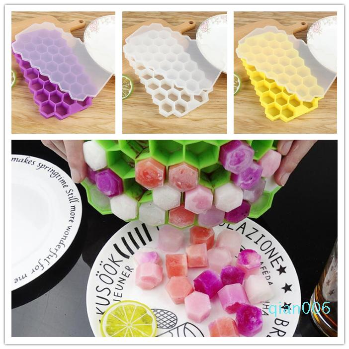 37 Grids silicone Ice Cube Tray 5 couleurs sorbetière Plateau Popsicle Moisissures Honeycomb Ice Mold Outils de cuisine Bar