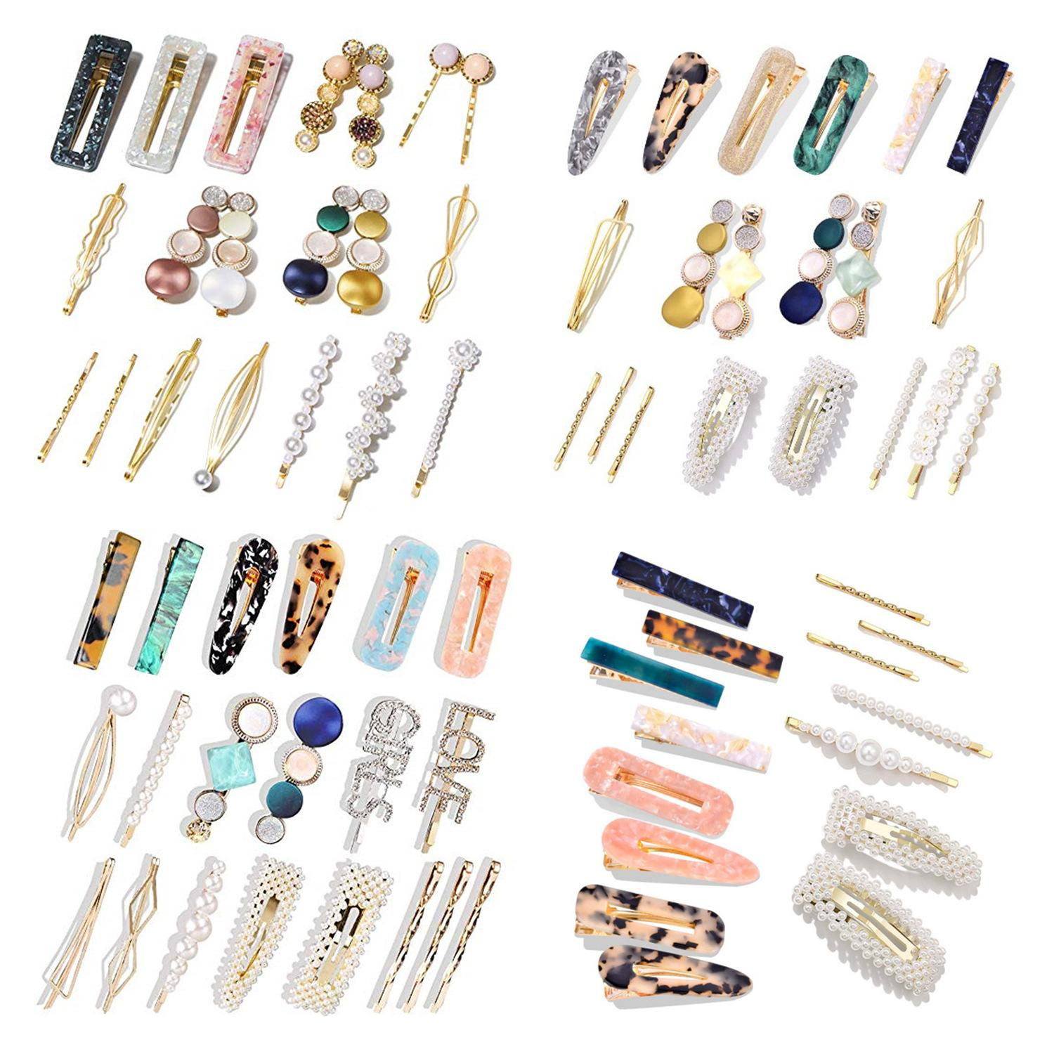 Designer Hair Clips Jewelry Pearls Hairpin Set Stylish Acetate Plate Hair Clips Mix BB Clip Sweet Fashion Barrettes Women Hair Accessories
