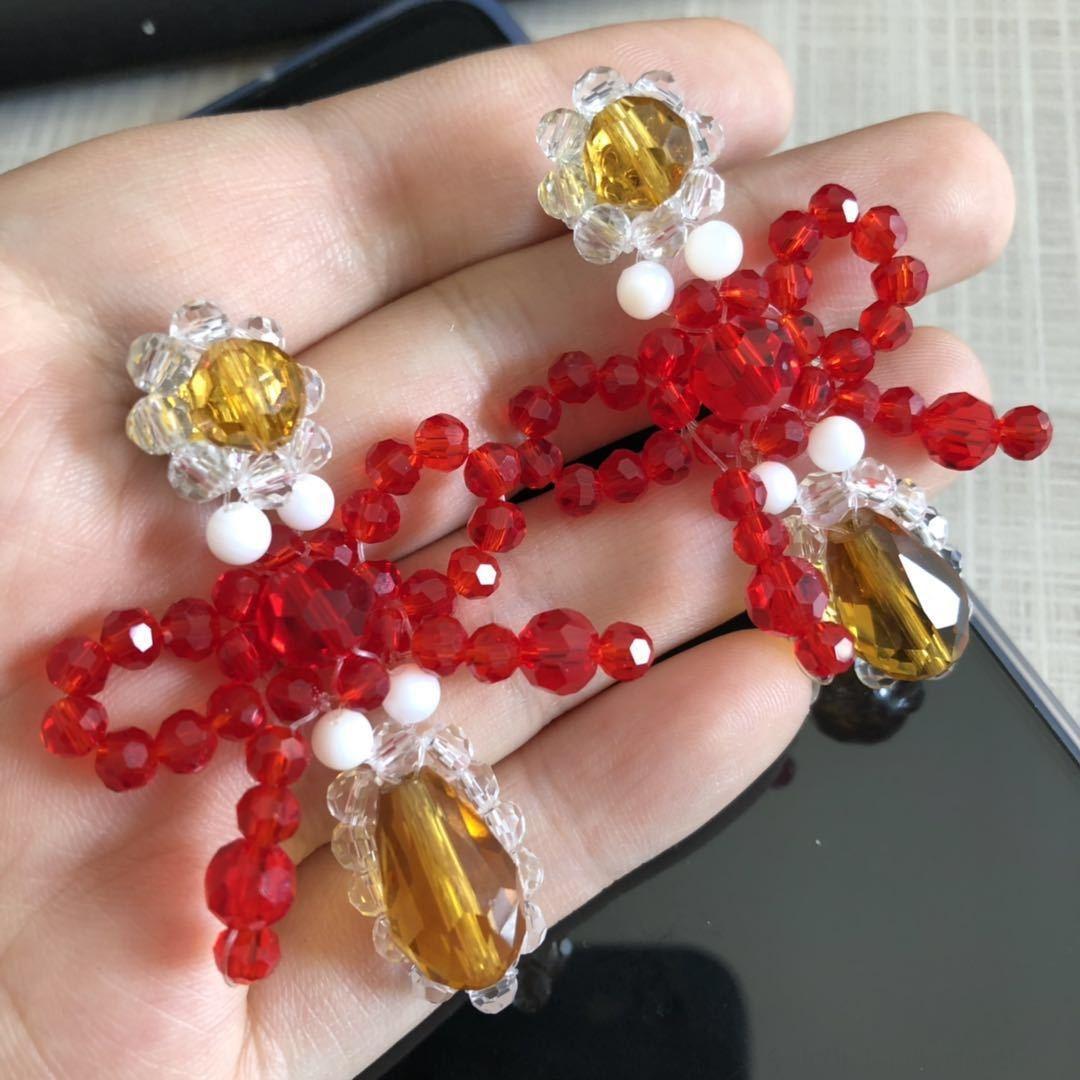 simon nouveau cristal perles de couleur tissé simple pour les femmes de perles de cristal Boucles d'oreilles
