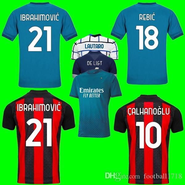 CA Milano 20 21 soccer jersey IBRAHIMOVIC Paquetá Bennacer ROMAGNOLI 2020 2021 MILANO maglia da calcio THEO REBIC Maillot Uomi bambini Kit