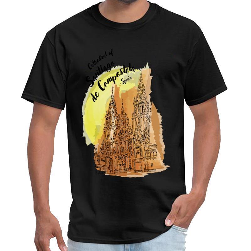 İspanya slipknot gömlek mens utanmaz bir t gömlek XXXL 4XL 5XL deseni - Santiago de Compostela arasında Tasarımcı Katedrali