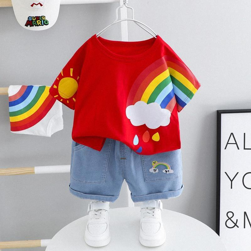 Neue Regenbogendruck-Baby-Kleidung Sommer Kurzarm-Shorts zweiteilige Karikatur T-Shirt Denim schließt beiläufige Babyklage m1x6 #
