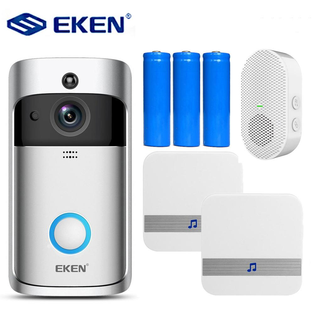 EKEN V5 فيديو الجرس الذكية اللاسلكية wifi الأمن باب جرس تسجيل البصرية مراقب الرئيسية الرؤية الليلية أبواب الهاتف