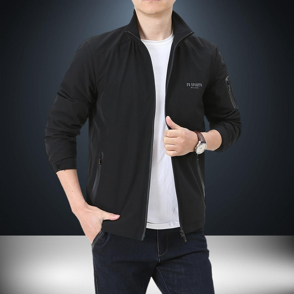 B5W4O 2020 Spring and Autumn New Stretch men's casual fashion four-sided elastic trench coat stand collar men's 1916 Windbreaker jacket jack