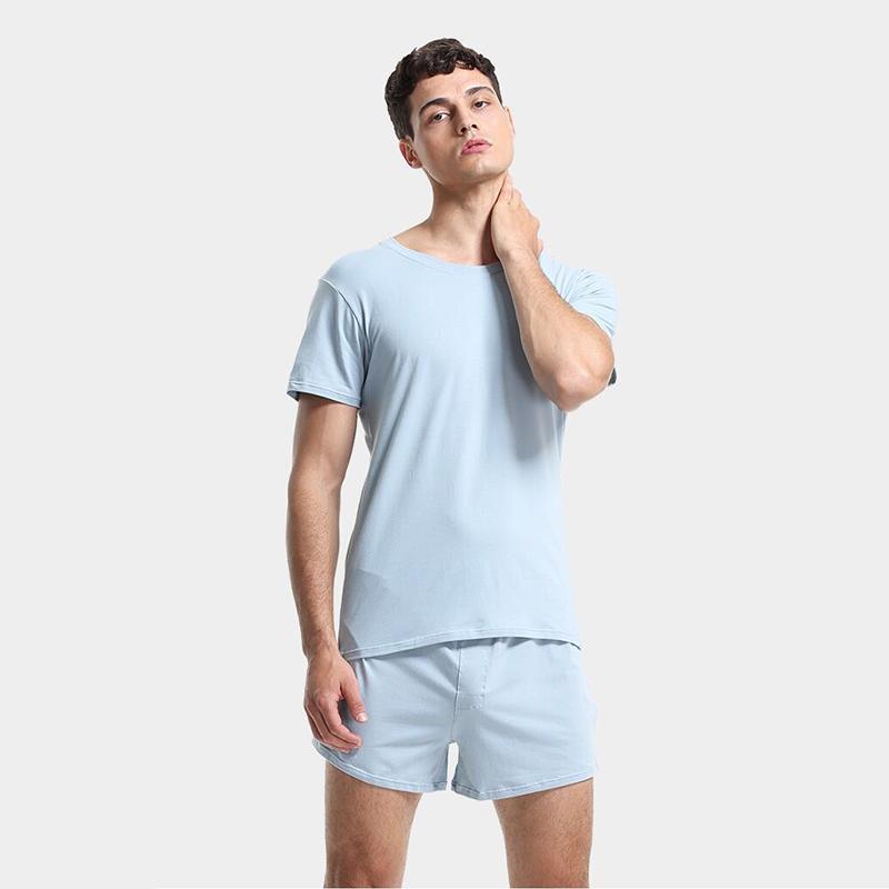 Nuovo Pajama Set Uomini nightsuit pigiameria casuale 60S cotone morbido pigiama maschio respirabile definisce T-shirt + shorts set Home Abbigliamento