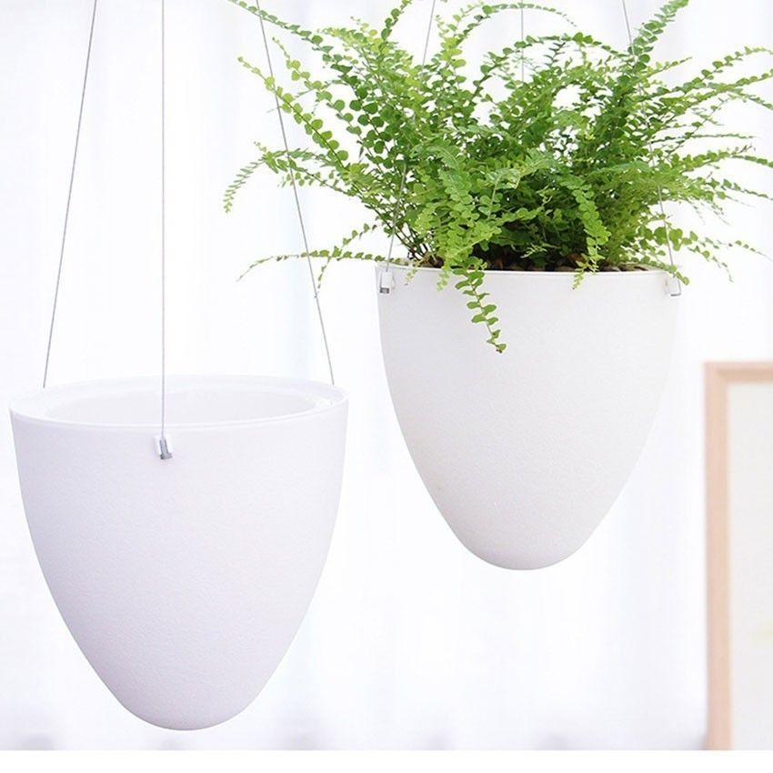 Mini White Lazy Flower Pot Plastic Succulent Plant Pots Water Hanging Pots Watering Garden Pots Planters Home Decoration Y200723