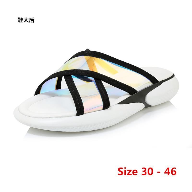 do Plano Platform Sandals Feminino Verão Med Heel Mulheres grossas inferior Shoes Wedge Chinelos Sandálias Mulheres pequeno Big Tamanho 30 - 46