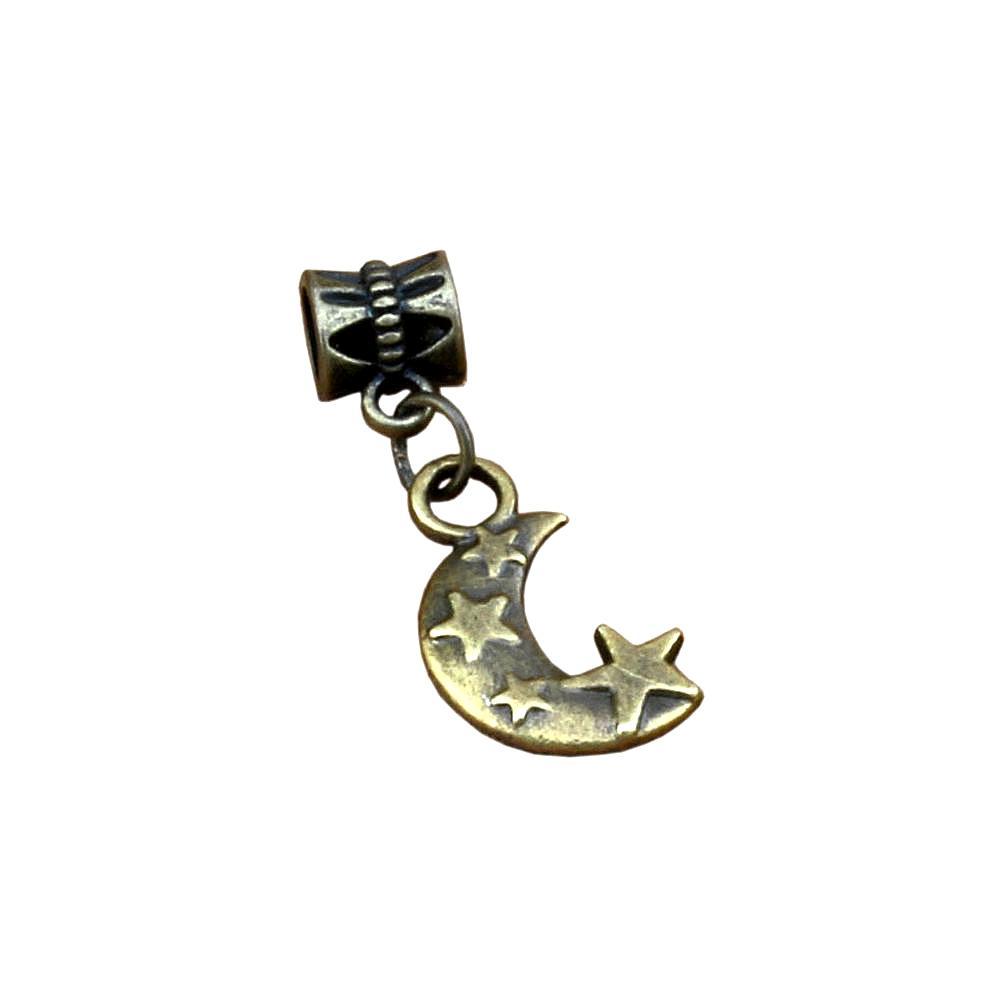 100pcs / lot Dangle Moon Stars Charm Big Hole Perles pour bijoux Faire bracelet Collier constatations 11x30.5mm