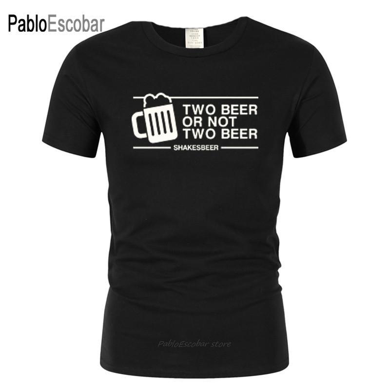 Мужчины с коротким рукавом Футболка Два пива или не два пива Футболка Tee Смешной вскользь с коротким рукавом вискоза Fashion Design Pub Drink Bar
