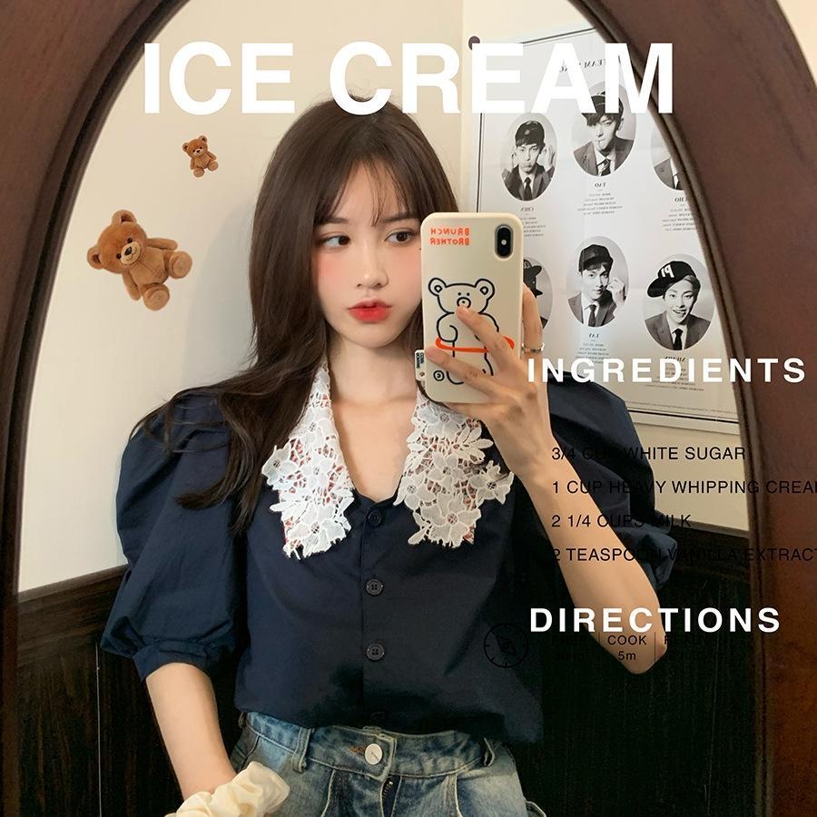 WyKzF 레이스 고스트 하우스 사우스 칼라 이스트 게이트 블랙 퀸 시리즈 D9nZu 셔츠 꽃 자기 보존 레이스 이중 한국의 아름다움 튀김 소매 shir