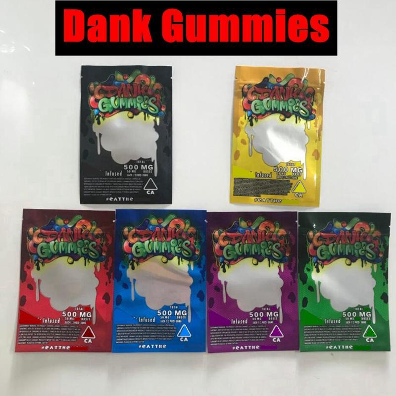 Whosale 6 Tyms Dank Gummies Mylar Bag 500mg Edibles Упаковочные запахи Доказательство Занятия застежки на молнии Пакеты пакетов на молнии