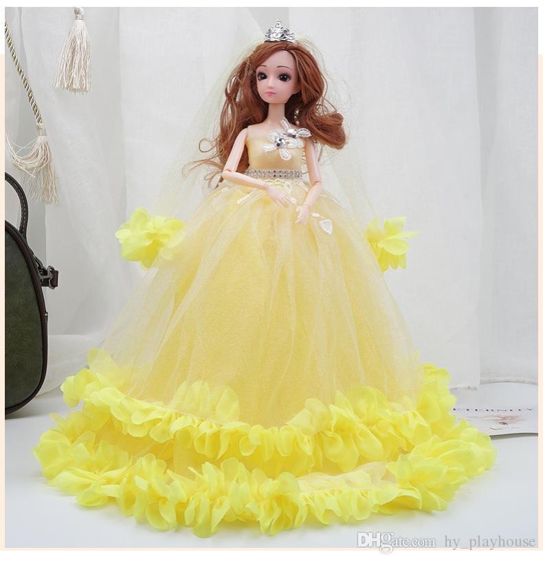 40cm colorido de la boda Barbie muñeca de la princesa de noche viste de ropa de fiesta largo del vestido Set Accesorios niños de juguete niña