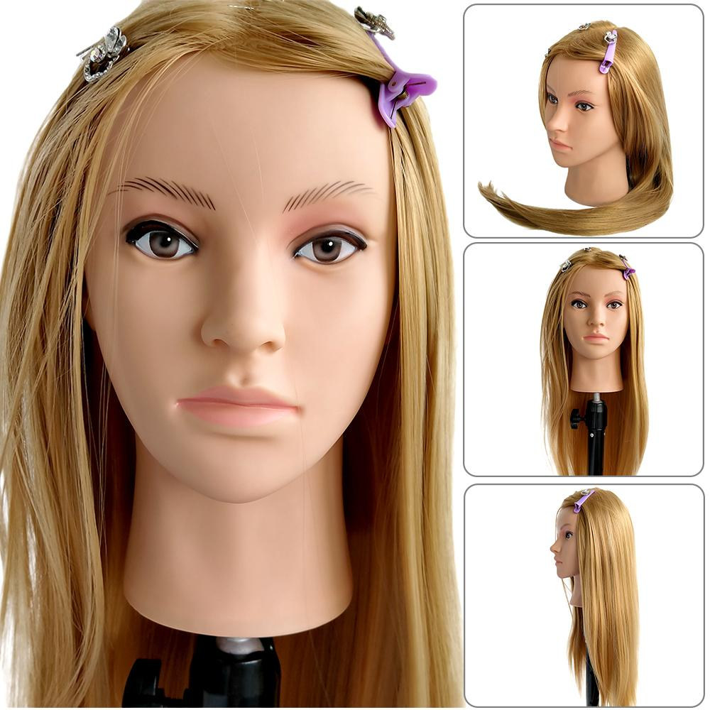 65cm Synthetic Hair Dolls Head For Hairdressers Mannequin Head Hairstyles Female Mannequin Hairdressing Styling Training Head
