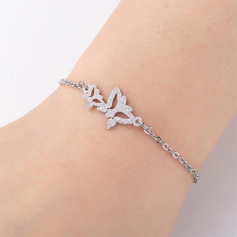 bracelets papillon pour femme chaîne en acier inoxydable sur bracelet breloque main simple mode couleur acier bijoux bracelet insectes 9CBX de #