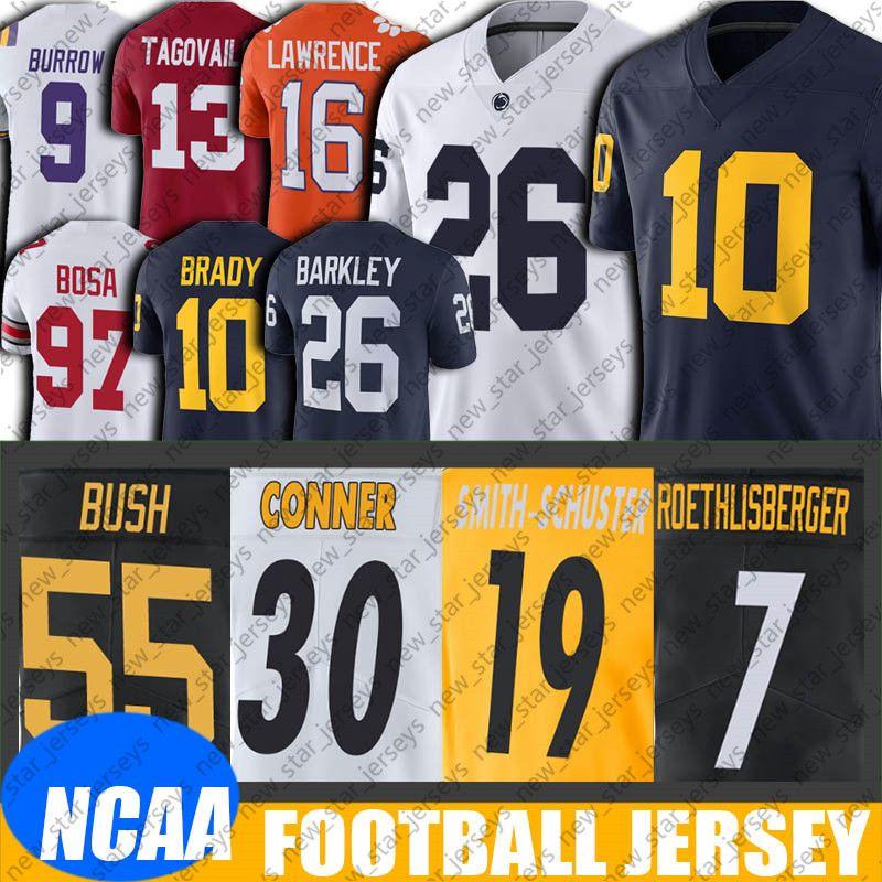 NCAA Michigan Tom Brady Saquon Barkley Jersey 8-16 Ben Roethlisberger James Conner Jersey Juju Smith-Schuster Devin Bush Formalar