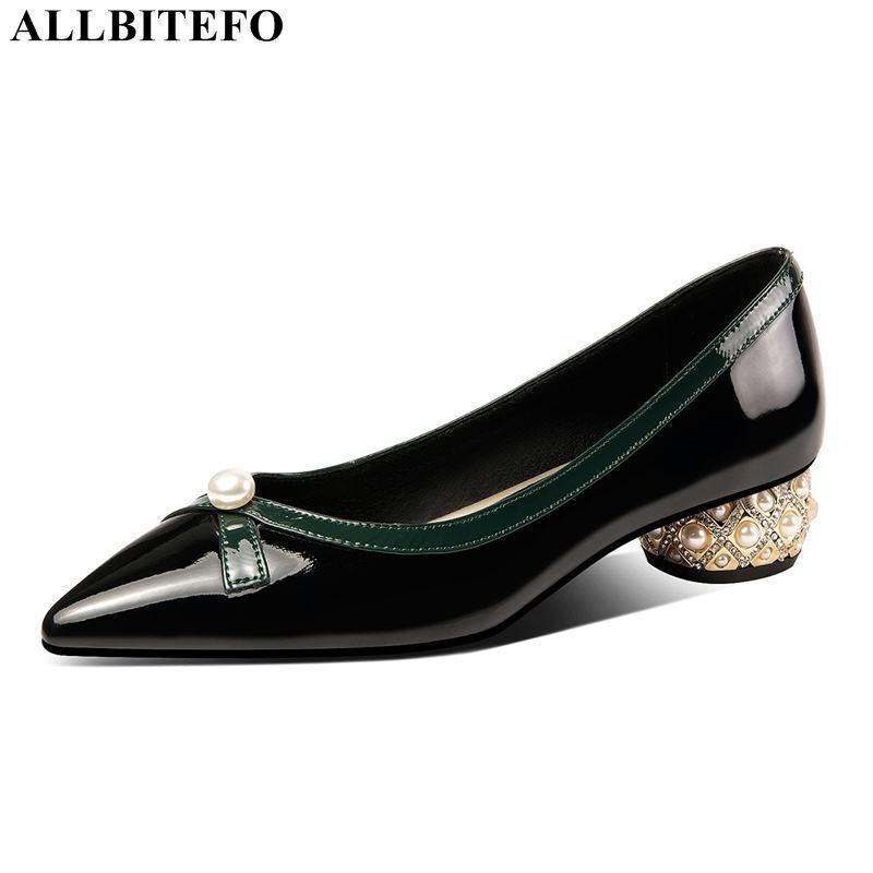 ALLBITEFO mulheres doce calcanhar de couro genuíno saltos grossos partido sapatos Mulheres Bowtie sapatos de salto alto salto alto escritório senhoras
